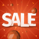 Vector Sale text with triangle sphere on red background Royalty Free Stock Image