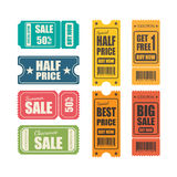 Vector sale tickets. Royalty Free Stock Photo