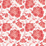 Vector Salmon Pink y fondo inconsútil decorativo amarillo del modelo de la repetición de las rosas y de las hojas Grande para las Imágenes de archivo libres de regalías