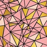 Vector Salmon Pink y fondo inconsútil del modelo del mosaico de la hoja de oro de la repetición geométrica de los triángulos Pued Imagen de archivo libre de regalías