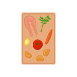 Vector salmon soup ingridients. On cutting board Stock Image