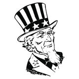 Vector sam uncle. Vector image of Uncle Sam sign in white background Royalty Free Stock Photo