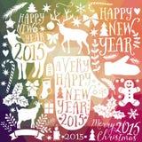 Vector Sammlung der frohen Weihnachten, Bündelikonen des neuen Jahres, Gekritzelelement für Weihnachtsdesign Satz des Winterurlau Stockbild