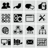 Vector Sammlung des bunten flachen Geschäfts und finanzieren Sie Ikonen mit langem Schatten Lizenzfreie Stockfotos