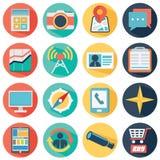 Vector Sammlung des bunten flachen Geschäfts und finanzieren Sie Ikonen mit langem Schatten Lizenzfreies Stockfoto