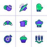 Vector Sammlung Entwurfsikonen, -bäckerei und -c$kochen Hohes qua stock abbildung