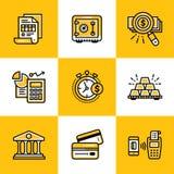 Vector Sammlung Entwurfsikonen, die Finanzierung und haben ein Bankkonto Erstklassiger qu Lizenzfreie Stockfotos