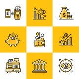 Vector Sammlung Entwurfsikonen, die Finanzierung und haben ein Bankkonto Erstklassiger qu lizenzfreie abbildung