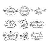 Vector Sammlung gezeichnete Logoschablonen der Fotografie Hand Stockfotos