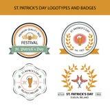 Vector Sammlung irische Hand gezeichnete Logoschablonen Lizenzfreie Stockfotos