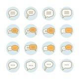 Vector Sammlung lineare Ikonen der flachen Spracheblase Lizenzfreies Stockfoto