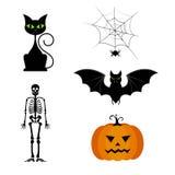 Vector Sammlung verschiedene nette schwarze Halloween-Schattenbilder Lizenzfreies Stockbild