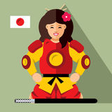 Vector Samurai japan. Flat style colorful Cartoon illustration. Stock Photos