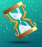 Sand timer is counting down to Christmas festival with snow on background. vector illustration