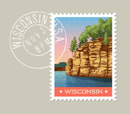 Vector of sandstone bluffs on the Wisconsin River. Royalty Free Stock Photo