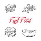 Vector sandwich, burger hot dog pizza slice set Stock Images