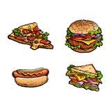 Vector sandwich, burger hot dog pizza slice set Royalty Free Stock Photography