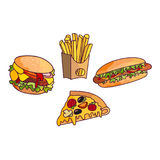 Vector sandwich, burger hot dog set. Fast food flat cartoon isolated illustration on a white background. Triangular fresh sandwich with cheese, tomato and Royalty Free Stock Photography