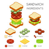 Vector sandwich ingredients in 3D isometric style Stock Photos