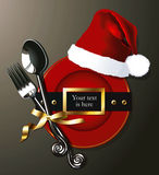 Vector of Santa belt on Red plate with fork and spoon. Stock Images