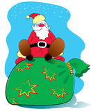 Vector Santa and big bag.New Year Royalty Free Stock Photo