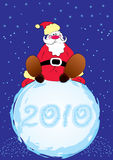 Vector Santa and big snowball Royalty Free Stock Photography