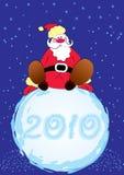 Vector Santa and big snowball. Vector Santa on snow with blue snow sky Royalty Free Stock Photography