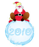 Vector Santa and big snowball on white stock image