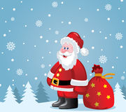 Vector santa claus with big sack Stock Images
