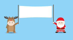 Vector Santa Claus and Boy in Reindeer costume holding Blank Ban Royalty Free Stock Photo