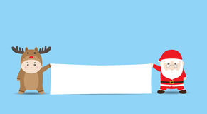 Vector Santa Claus and Boy in Reindeer costume holding Blank Banner Stock Images