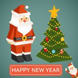 Vector Santa Claus and Christmas tree Icons Stock Images