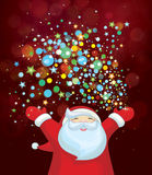 Vector Santa Claus with colorful lights. Background is my creative handdrawing and you can use it for winter, Christmas design and etc,   made in vector, Adobe Royalty Free Stock Photo