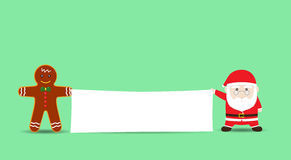 Vector Santa Claus and Cookie Man or Gingerbread men holding Blank Banner. Santa Claus and Cookie Man or Gingerbread men holding Blank Banner. Vector Cartoon for royalty free illustration