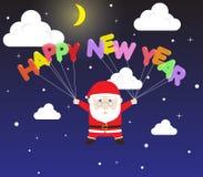 Vector Santa Claus, die guten Rutsch ins Neue Jahr-Ballon im Schnee-nächtlichen Himmel hält Stockbild