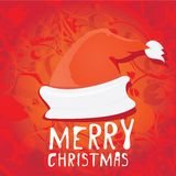 Vector Santa Claus hat on red background. Stock Images