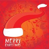 Vector Santa Claus hat on red background. Royalty Free Stock Photo