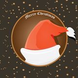 Vector Santa Claus hat on vintage background. Stock Photos
