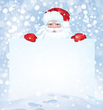 Vector Santa Claus  hiding by blank on snowfall background. Royalty Free Stock Photo