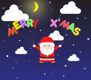 Vector Santa Claus holding Merry X Mas Balloon in Snow Night Sky Stock Photo