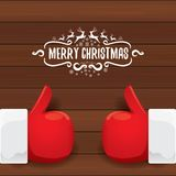 Vector Santa Claus like hand icon  on wooden background . thumbs up santa hand symbol. Stock Image