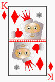 Vector Santa Claus is a playing card king suit diamonds, bells.  Royalty Free Stock Image