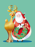 Vector_santa claus reindeer Stock Photography