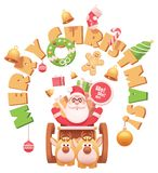 Vector Santa Claus with reindeers stock illustration