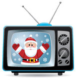 vector Santa claus in retro tv set Stock Photography