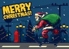 Santa claus ride skateboard around city. Vector of santa claus ride skateboard around city Royalty Free Stock Image