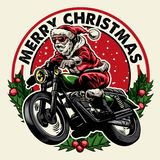 Santa claus riding motorcycle badge stock illustration