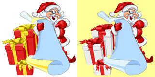 vector Santa Claus with a scroll and gifts Stock Image