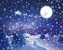 Vector Santa Claus Sleigh on sky background, winter night scene Royalty Free Stock Photography