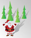 vector santa claus and trees Royalty Free Stock Photography